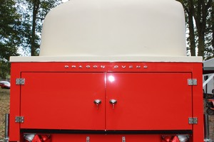 Phoenix Wood fired pizza trailer rear door photo